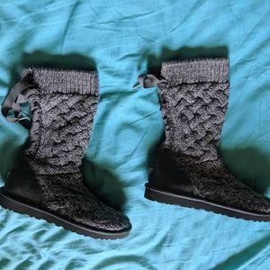 UGG Australia Gray 'Blythe' Knit Boot Size 9